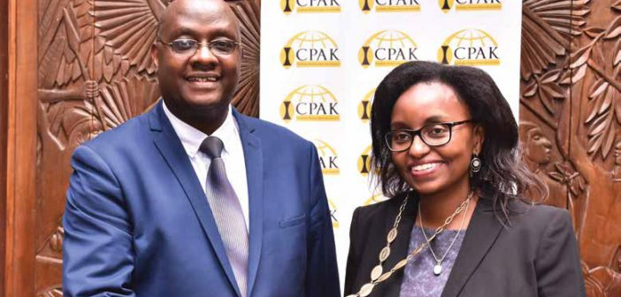 Immediate former ICPAK Chairman FCPA Julius Mwatu (far right) with Chairman elect CPA Rose Mwaura (middle) and ICPAK CEO CPA Edwin Makori (left) before handing over.